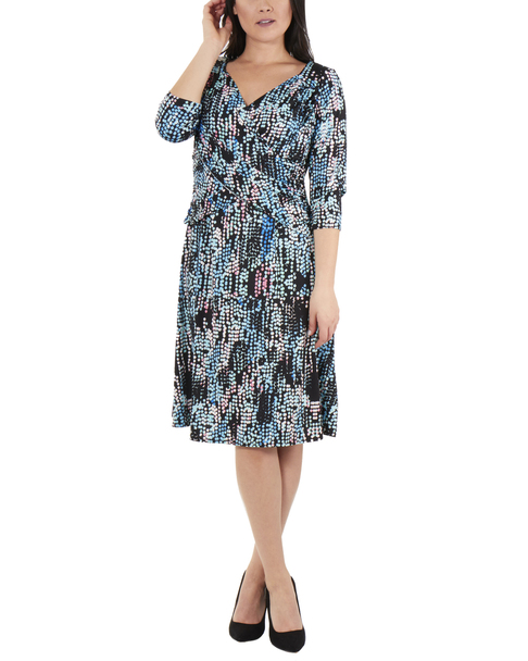 Polka Dot Cross Ruching Dress~Aqua Partydot*MITD3697