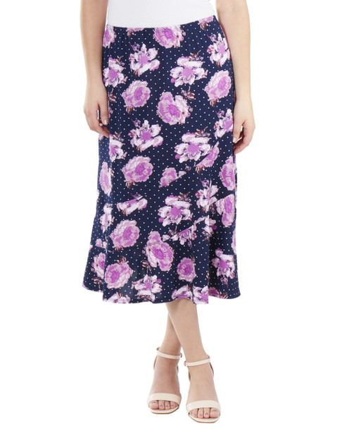 Ankle Length Elastic Waist Skirt~Navy Bloomdot*MITK0853