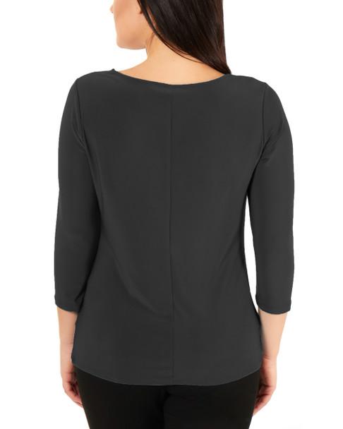 3/4 Sleeve Twist and Tie Front Top~Black*MITU6892