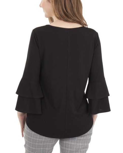 Bell Sleeve Tie Front Top~Black*MITU6926