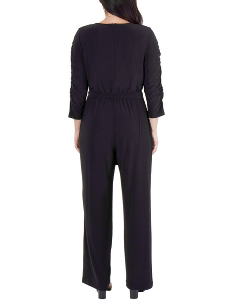 Ruched Sleeve Sash Belt Jumpsuit~Black*MITU6932