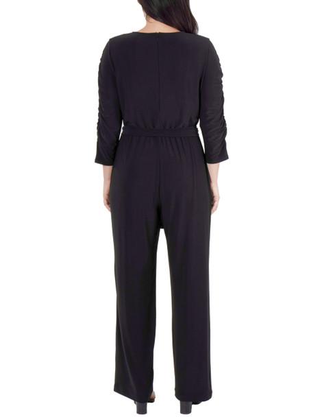 Ruched Sleeve Sash Belt Jumpsuit~Black*MITU6932