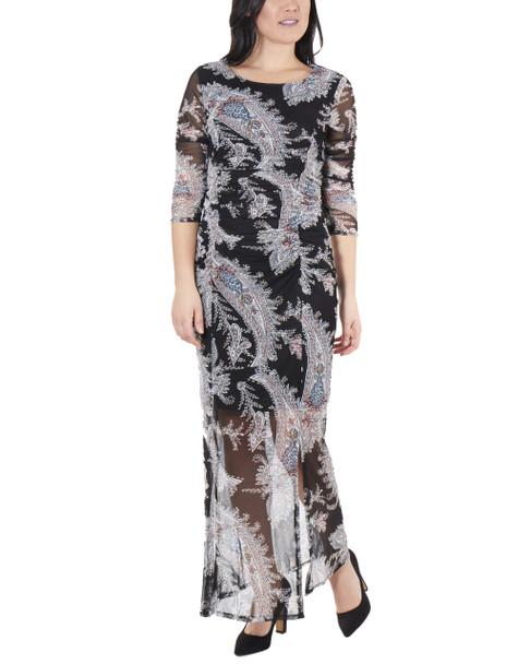 Floral Double Slit Maxi Dress~Navy Penascoflor*MMED0195