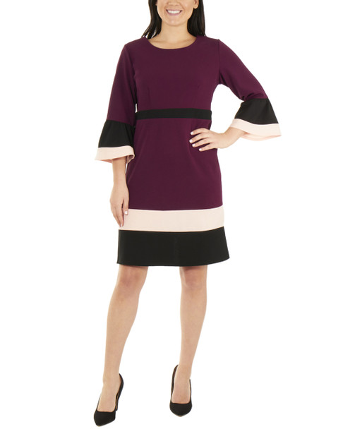 Bell Sleeve Bodycon Color Block Dress~Grape Eilat*MNKD0445