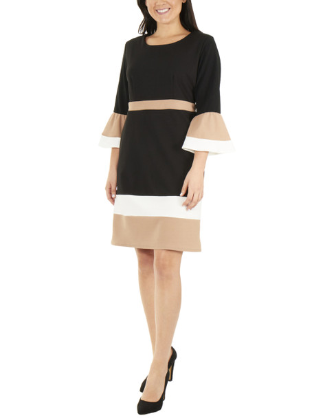 Bell Sleeve Bodycon Color Block Dress~Jet Eilat*MNKD0445