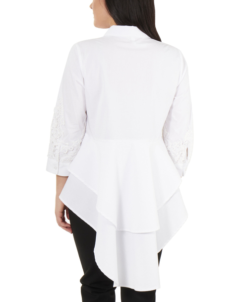 Lace Detail Sleeve Peplum High-Low Button Up Blouse~White*MPLB0411