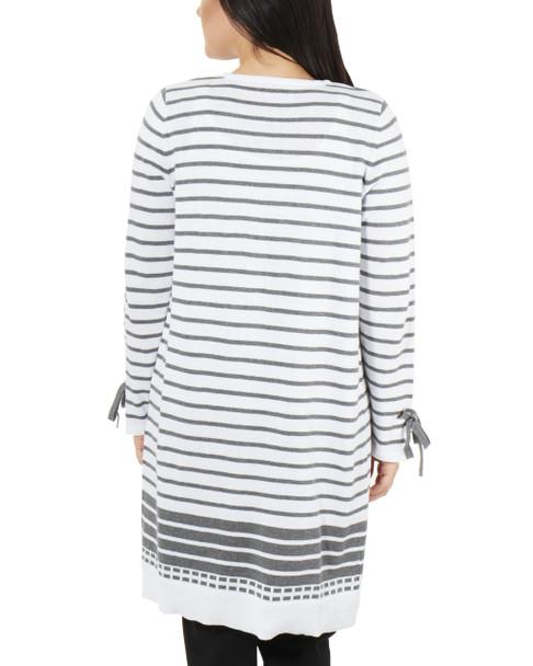 Tie Sleeve Striped Open Front Cardigan~Aryn*MSSR1445