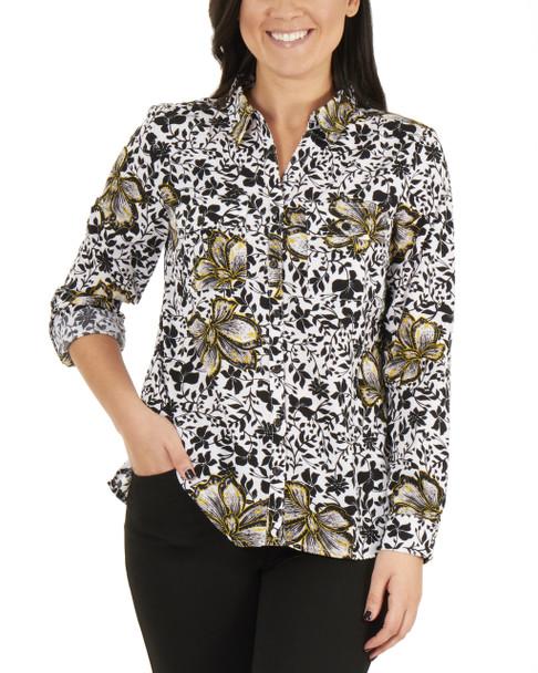 Floral Roll Tab Button Up Blouse~Noir Dripvine*MSTB1211