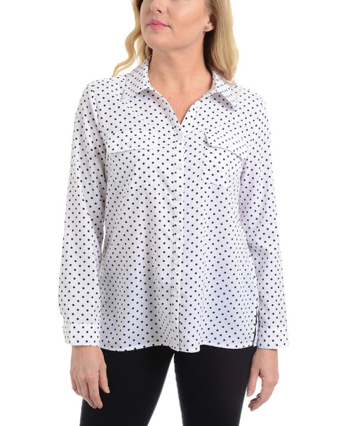 Polka Dot Roll Tab Button Up Blouse~White Fantasy*MSTB1211