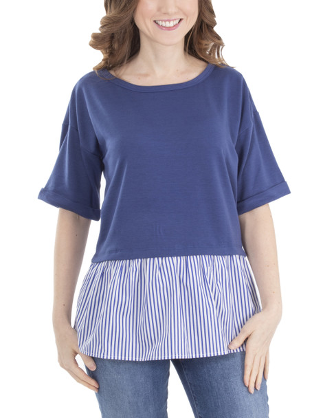 Petite Elbow Sleeve Lattice Back Detail Layered Top~Blue Socialline*PFRU0202