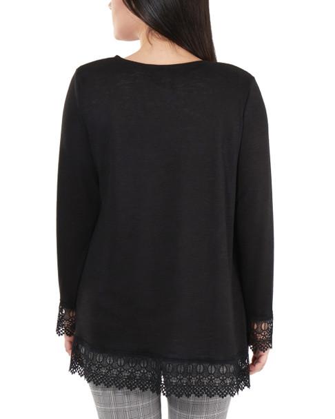 Petite Open Front Lace Trim Cardigan~Black*PHAR0251