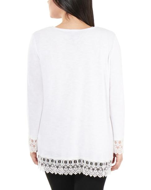Petite Open Front Lace Trim Cardigan~White*PHAR0251