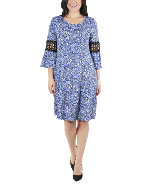 Petite Bell Sleeve Crochet Sleeve Trim Dress~Blue Basilica*PITD3693