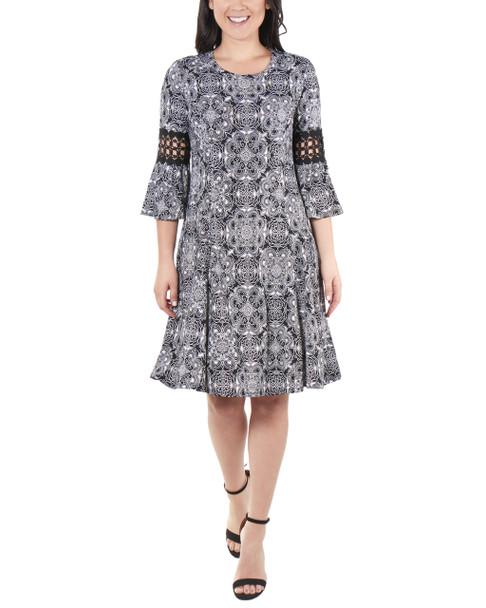 Petite Bell Sleeve Crochet Sleeve Trim Dress~Noir Atunis*PITD3693