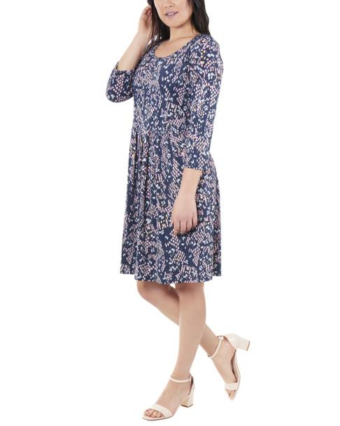 Petite 3/4 Sleeve Box Pleat Dress~Teal Dreamskin*PITD3694