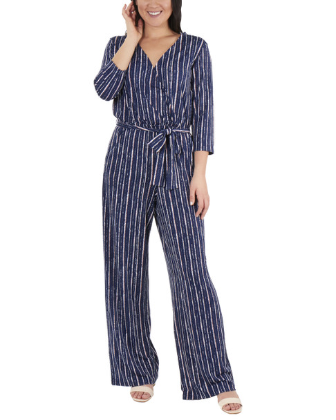 Petite 3/4 Sleeve Sash Belt Jumpsuit~Navy Tracerline*PITU6919
