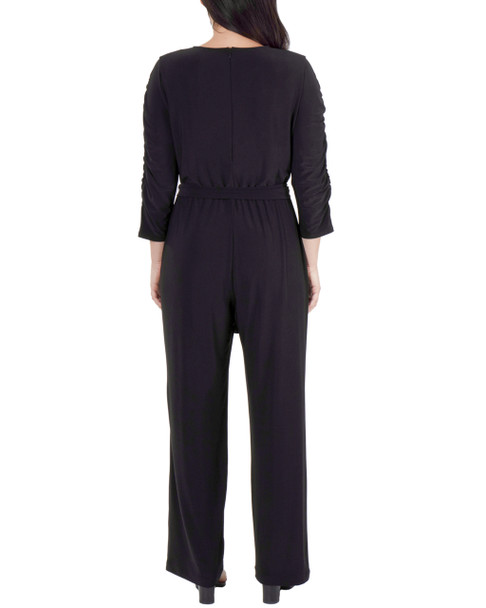 Petite Ruched Sleeve Sash Belt Jumpsuit~Black*PITU6932