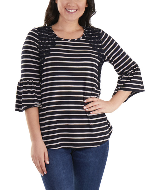 Petite Striped Bell Sleeve Crochet Trim Detail Top~Navy Lunastripe*PRSU1802