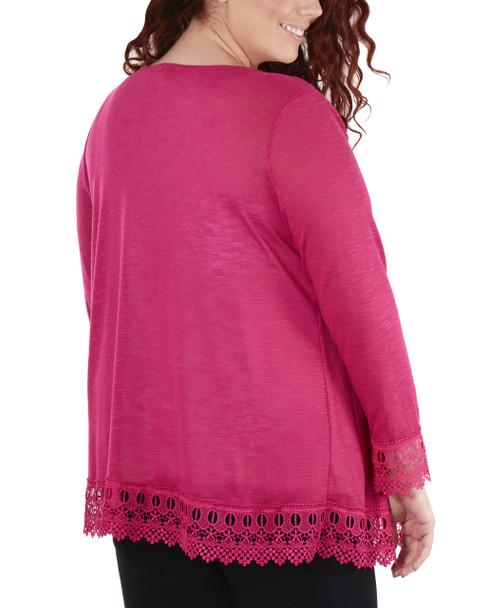 Plus Size Open Front Lace Trim Cardigan~Fuchsia*WHAR0251