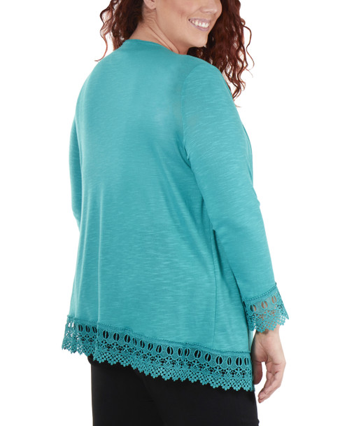 Plus Size Open Front Lace Trim Cardigan~Jade*WHAR0251