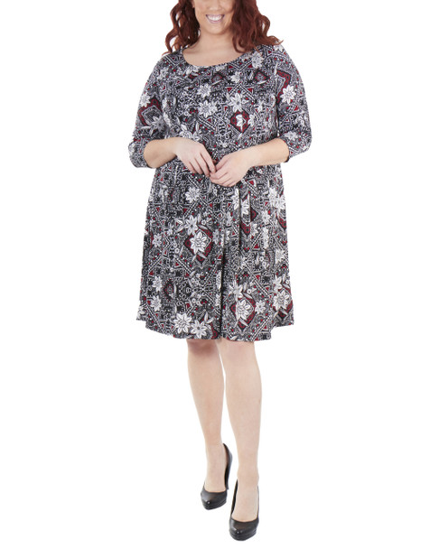 Plus Size 3/4 Sleeve Box Pleat Dress~Black Dottedtile*WITD3694