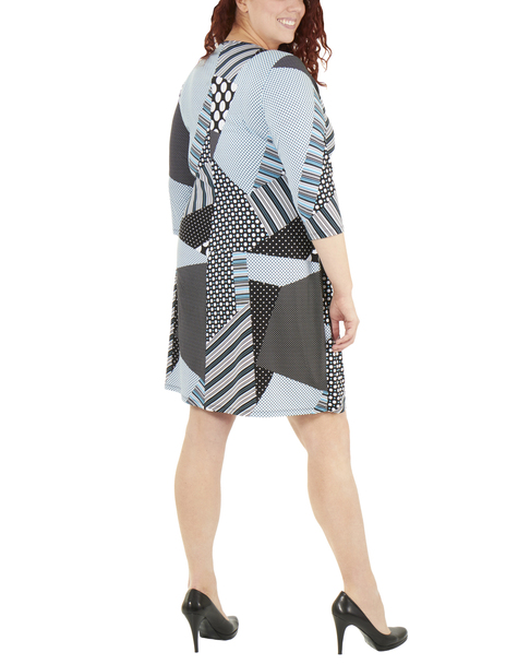 Plus Size Patchwork Tie Front Wrap Dress~Black Dotpatch*WITD3695