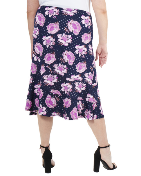 Plus Size Ankle Length Elastic Waist Skirt~Navy Bloomdot*WITK0853