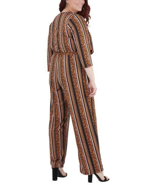 Plus Size 3/4 Sleeve Sash Belt Jumpsuit~Golden Luxetch*WITU6919