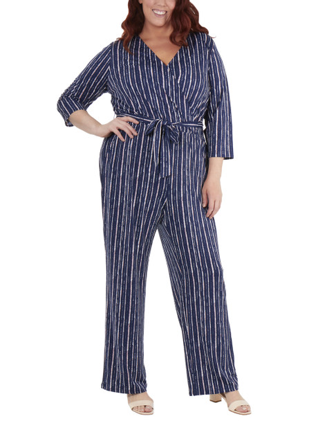 Plus Size 3/4 Sleeve Sash Belt Jumpsuit~Navy Tracerline*WITU6919