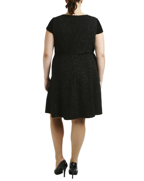Plus Size Cap Sleeve Fit and Flare Dress~Black Starboy*WNKD0388