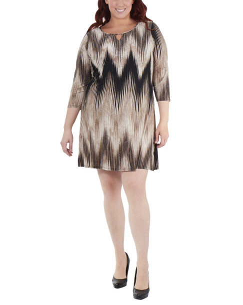 Plus Size Striped Keyhole Shift Dress~Khaki Ligia*WNKD0444