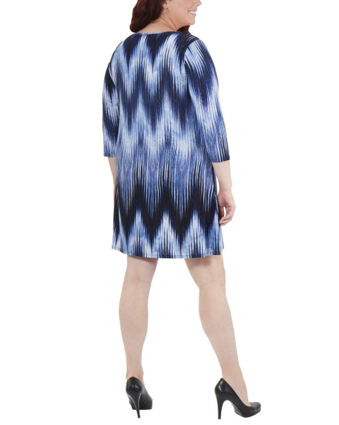 Plus Size Striped Keyhole Shift Dress~Navy Ligia*WNKD0444