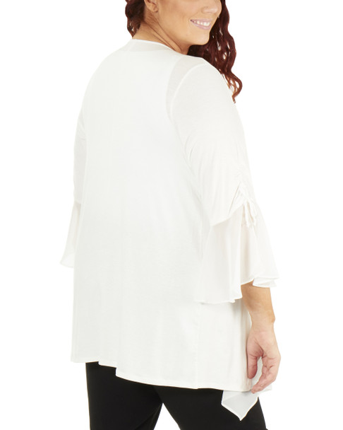 Plus Size Ruched Bell Sleeve Open Front Cardigan~White Mixcombo*WRSR0242