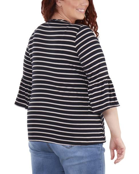 Plus Size Striped Bell Sleeve Crochet Trim Detail Top~Navy Lunastripe*WRSU1802