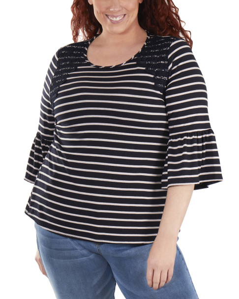 12707e19663 Plus Size Striped Bell Sleeve Crochet Trim Detail Top~Navy ...