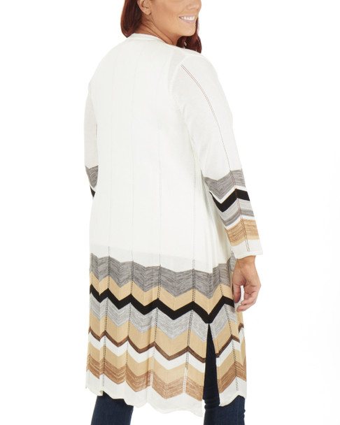 Plus Size Chevron Open Front Sweater Cardigan~Katia*WSSR1393