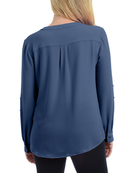 Long Sleeve Roll Tab Top With Zipper~Navy Blue*XCRU0497