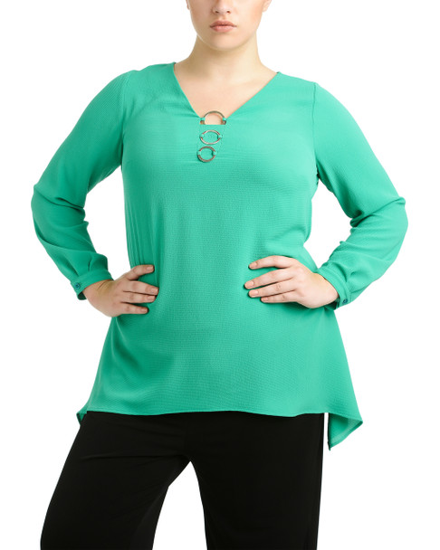 Plus Size Triple Metal Ring Sharkbite Hem Top~Fresh Emerald*ZCJU0225