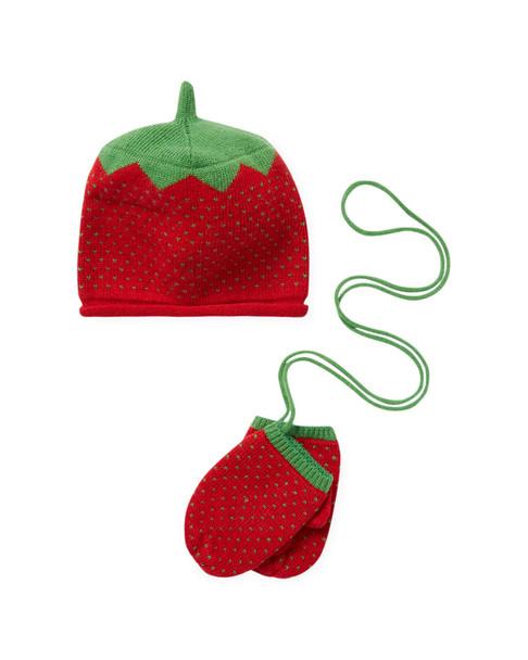 Portolano Strawberry Hat and Mittens Set~1111830798