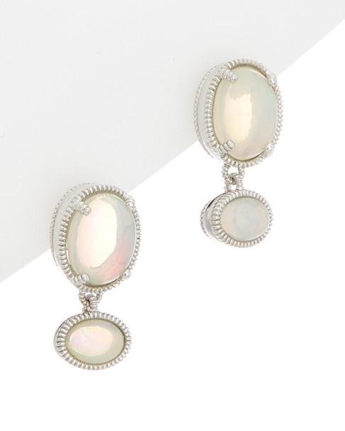 Judith Ripka Silver 3.15 ct. tw. Opal Drop Earrings~60309592660000