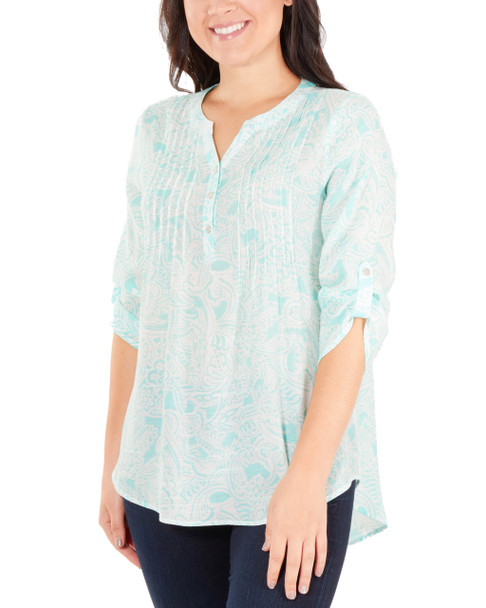 Petite 3/4 Sleeve Y Neck Front Pleated Top~Aqua Inkpaisley*PRJU0555