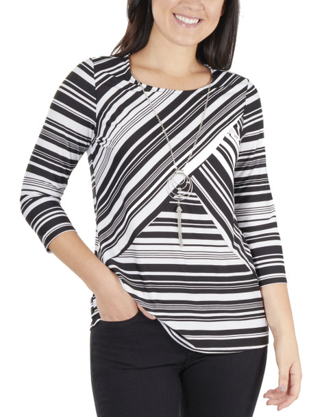 Petite 3/4 Sleeve Round Neck Top With Necklace~Black Charbia*PITU6843