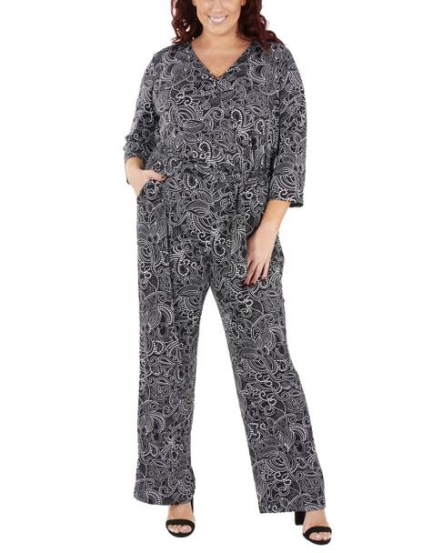 Plus Size 3/4 Sleeve Tie Front Jumpsuit~Black Florabulb*WITU6822