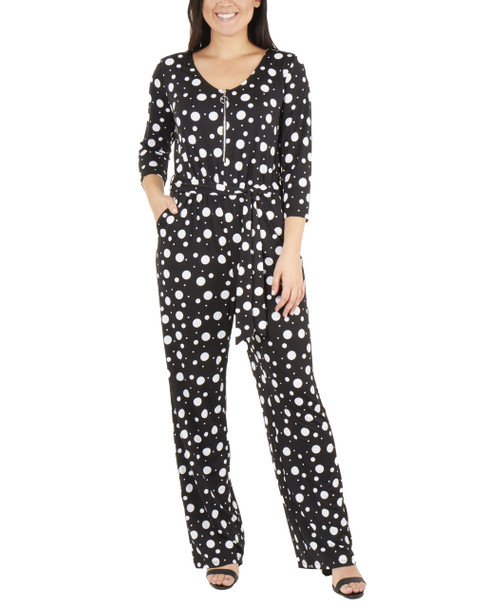 Polka Dot Zipper Front Jumpsuit~Black Moonphase*MITU6847