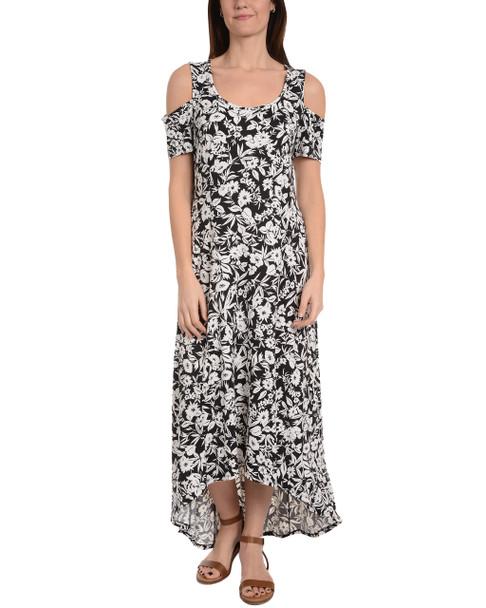 Petite Cold Shoulder High-Low Maxi Dress~Black Russo*PITD3466