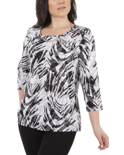 3/4 Sleeve Front Pleated Top with Hardware Trim~Black Zebrabia*MITU7074