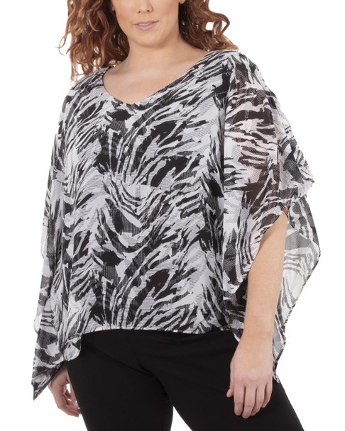 Plus Size Slit Sleeves V Neck Back Strap Poncho~Black Zebraduo*WCCF0358
