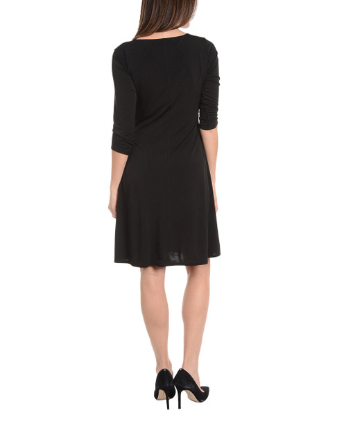3/4 Sleeve Cross Ruching Dress~Black*MITD3388