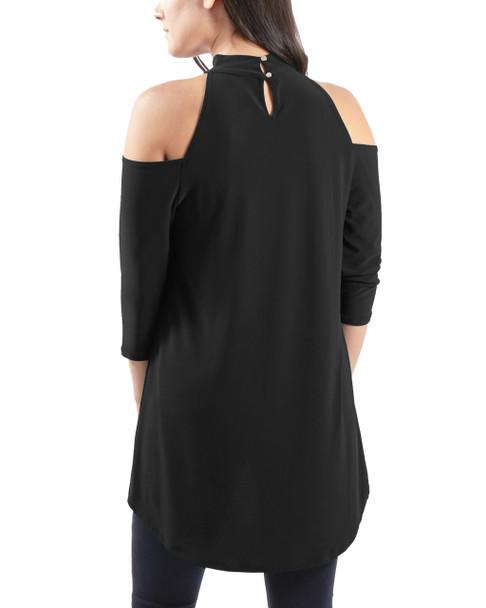 Cold Shoulder Mock Neck Tunic Top~Black*MITU6450