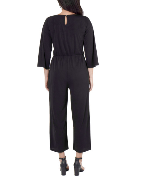 Drop Shoulder Tie Front Jumpsuit~Black*MITU6844